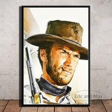 Clint Eastwood, un montón de dólares, pintura sobre lienzo de películas, carteles e impresiones, arte de pared, imagen Vintage, póster decorativo para el hogar