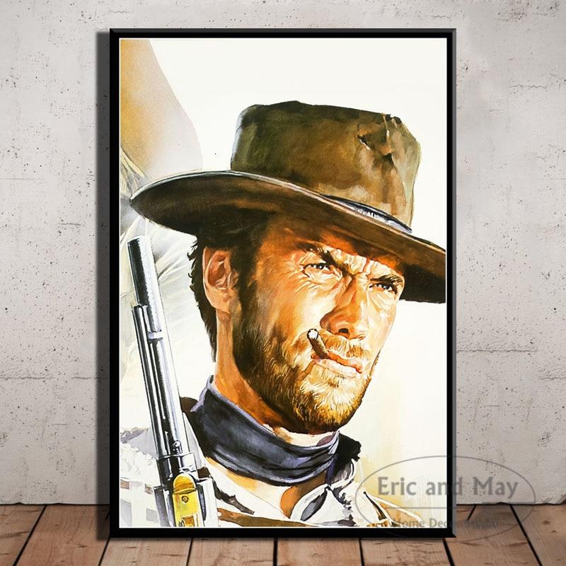 Clint eastwood um fistful de dólares filme pintura em tela cartazes e impressões de arte da parede poster vintage casa decorativa