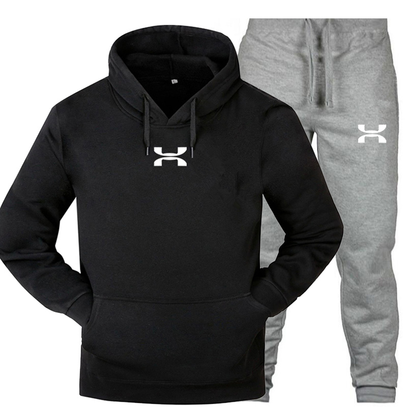 2019 New Fashion Sportswear Warm Print Men's Sports Suit Fleece Hoodie Running Fitness Two-piece