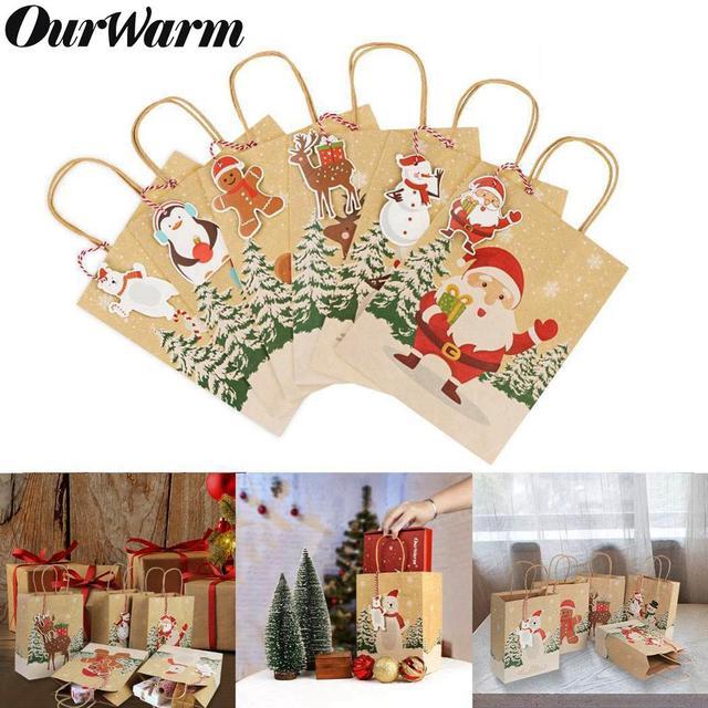 OurWarm Kraft Paper Bags Candy Box Christmas Goodie Bags Paper Gift Bags Paper Christmas Packaging Sweets Popcorn Box 23x9x18cm