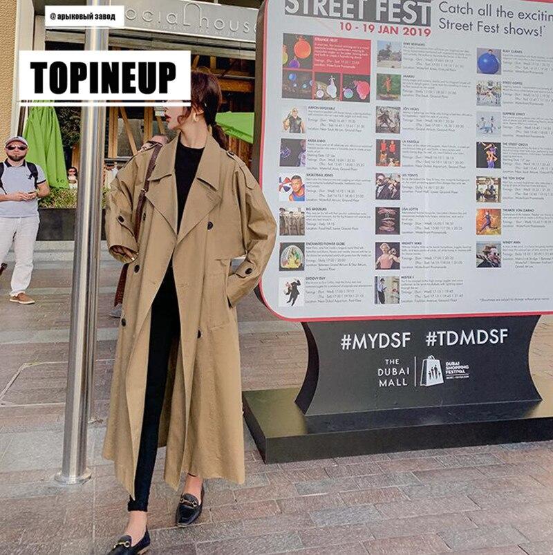 Fall Winter Women Long   Trench   Coat New Korean Loose Large Size Popular Windbreaker Female Long Over Knee Cloak Manteau Femme