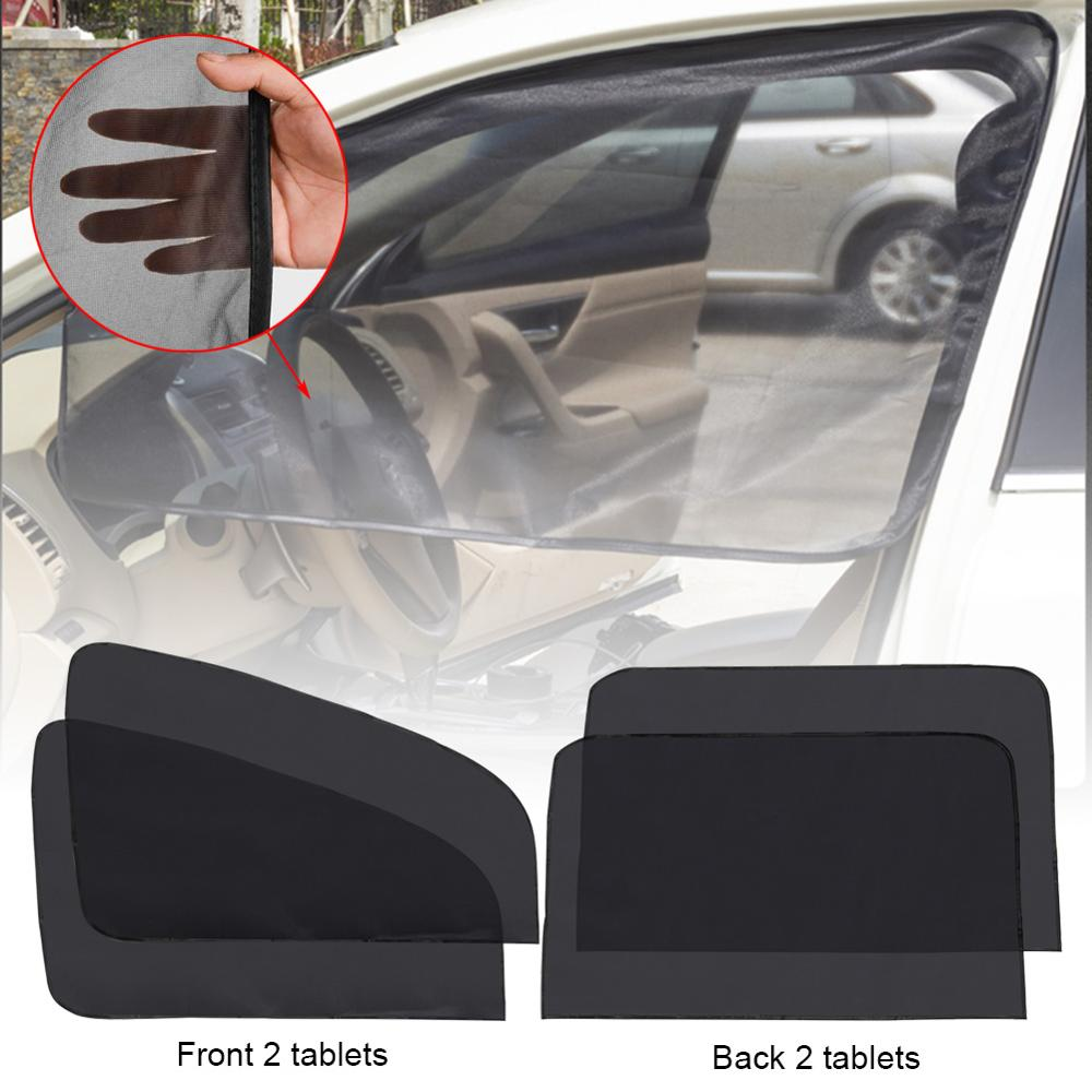 4PCS Magnetic Car Sun Shade UV Protection Curtain Window Sunshade Side Window Mesh Sun Visor Summer Protection Windows Film CSV