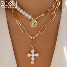 ZOSHI Gold Plated Simulated Pearl Multilayer Necklace for Women Fashion Coins Cross Pendant Necklace Irregular Thick Metal Choke