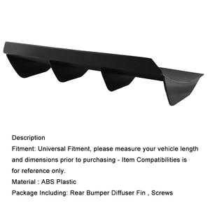 """Image 4 - Universal Spoiler Rear Bumper 4 Fins Curved Diffuser Fin Black ABS Car Rear Bumper Lip Diffuser 22"""" x 12"""" For Dodge"""