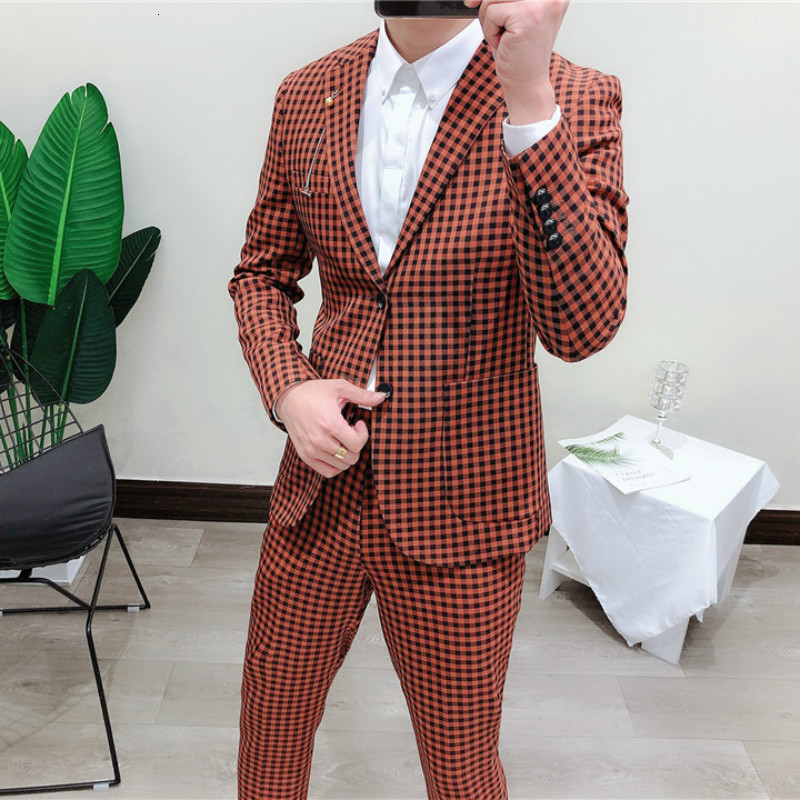 British Style Vintage Tuxedo Jackets Plaid Mens Casual Wedding Suits Check Single Breasted Suits Mens Business Suits Slim Fit