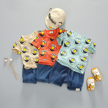 цена на 1-4Y Baby Boy Clothing Set 2020 Summer New Cartoon T-Shirt Shorts Suit Children Girls Boys Clothes for Kids Outfit Denim Outfit