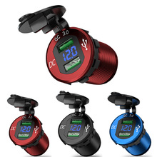 Quick Charge 3.0 Dual USB Charger Socket Waterproof Aluminum Power Outlet Fast Charge with LED Voltmeter for 12V/24V Car Boat M