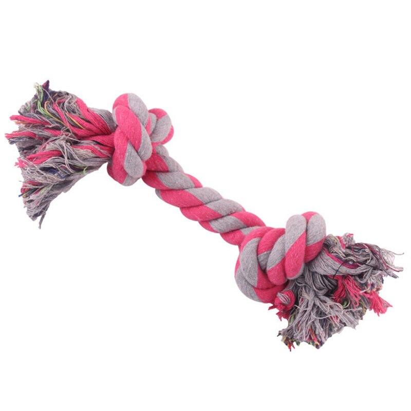 Собачья игрушка для домашних животных прочный двойной узел из хлопчатобумажной веревки плетеная Кость Форма Щенок Жевательная молярная игрушка чистящие принадлежности для зубов (случайный цвет)-2