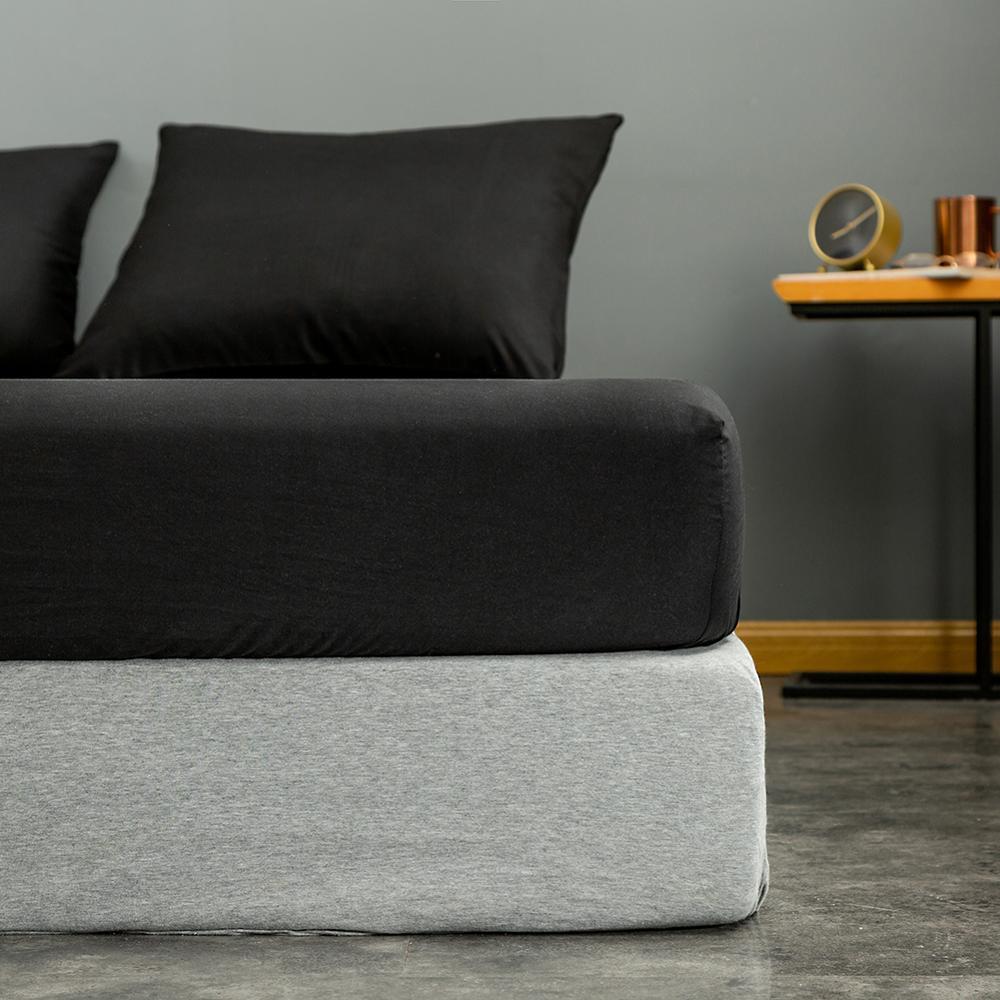 Bonenjoy 1pc Black Color Fitted Sheet Single/Queen/King Size drap de lit Bed Sheet Sets Solid Double Bed Sheets (no Pillowcase) 3