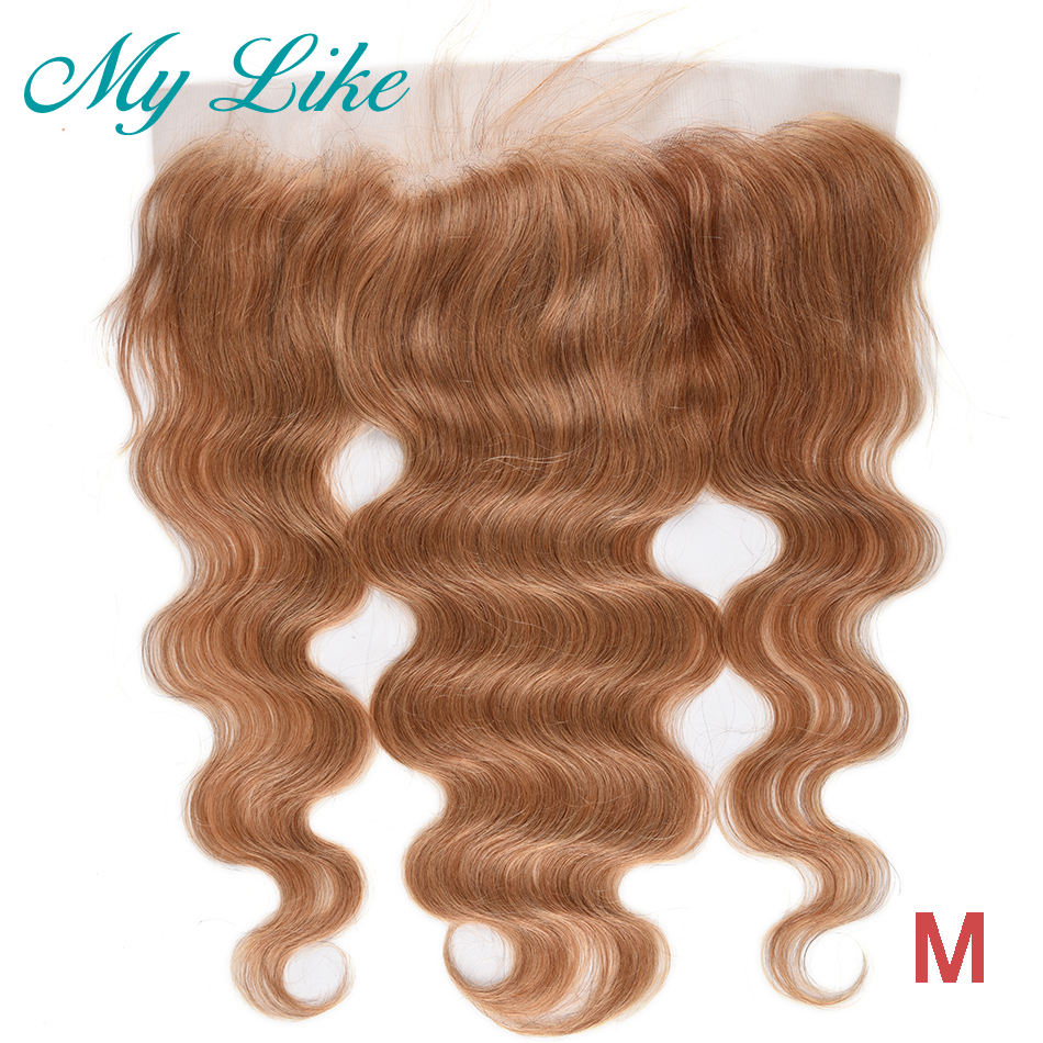 My Like Brazilian Body Wave Hair Color #27 Lace Frontal Closure Ear To Ear Human Hair Frontal 8-20inch Non-Remy 13x4 LaceFrontal