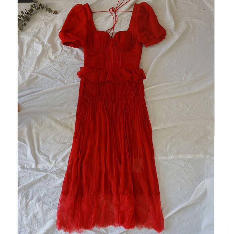 2020 新夏赤シフォンプリーツドレス女性スクエア襟滑走路デザインカジュアル休日休暇マキシドレス女性