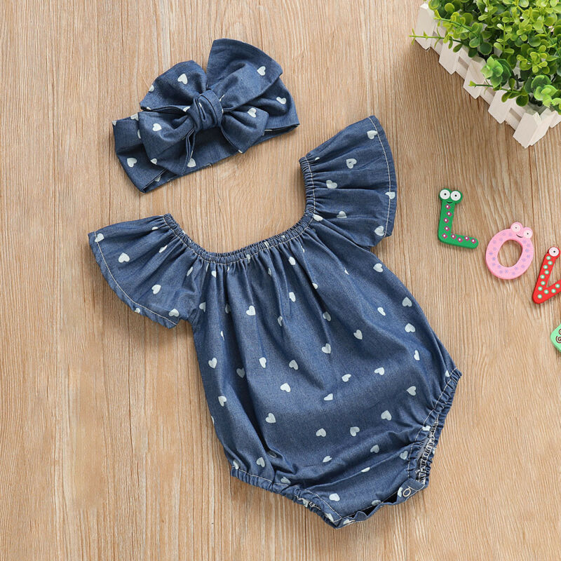 Pudcoco 2019 New Arrival Newborn Kids Baby Girls Outfit Romper Jumpsuit Bow Headband Clothes Set