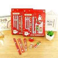 Un conjunto de Navidad tema guardería regalo Festival premio niños HB lápiz de madera gobernante sacapuntas escuela goma de borrar regalo de papelería de