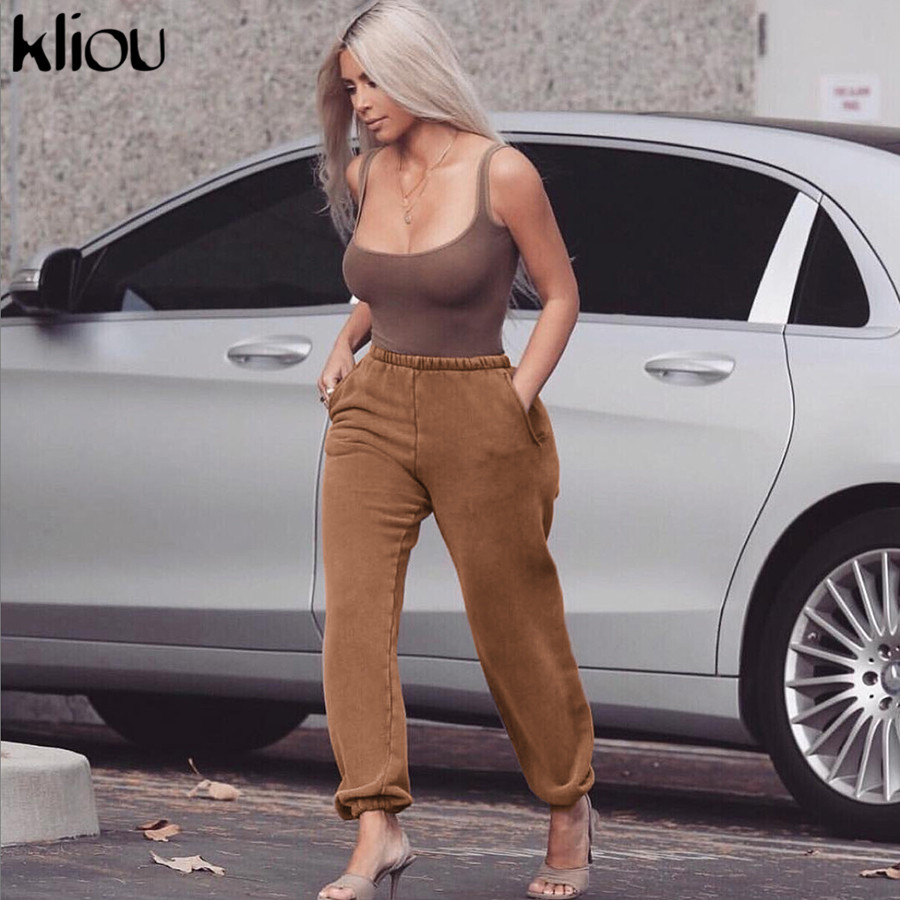 Kliou Pants For Women High Waist Pants Pocket Solid Loose Joggers Female Trousers 2019 Autumn Winter Track Pants Streetwear