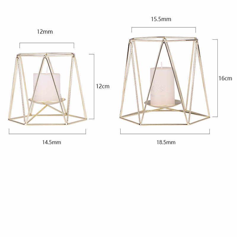 هندسية الحديد الزفاف شمعدان جدار شمعة حامل شمعدان زخرفة غرفة نوم الشمعدان
