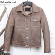 Fit Slim Plus xxxl kurtka i płaszcze ze skóry wołowej w trudnej sytuacji męskie kurtki z prawdziwej skóry odzież marki Retro Streetwear wiosna A007 tanie tanio NL (pochodzenie) Cienkie NONE COTTON vintage Zamki Kieszenie Stałe REGULAR Skóra bydlęca MANDARIN COLLAR Moto Biker