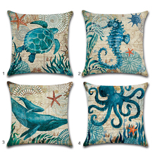 Marine Ocean Style Pillow Case Sea Turtle Horse Octopus Cotton Linen Cushion Cover Square Sofa Throw Pillowcase Home Decor