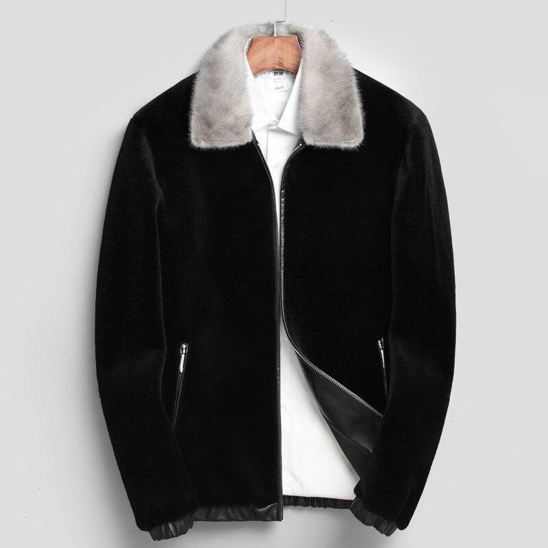 Real Fur Coat Natural Wool Coat Winter Jacket Men Clothes Mens Real Mink Fur Collar Warm Outwear Veste Homme L17721 YY333