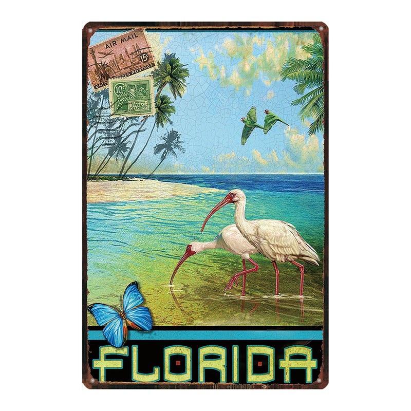 Купить флорида пляжные доска металл винтаж путешествия жестяная вывеска