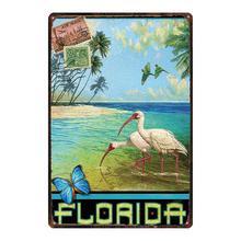 Флорида пляжные доска Металл Винтаж путешествия жестяная вывеска