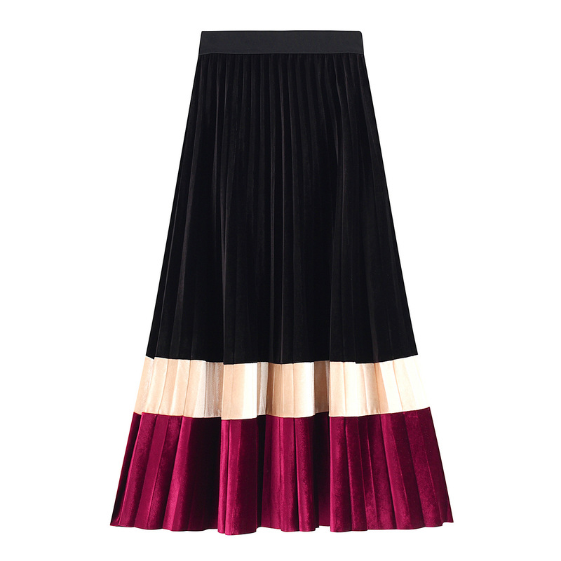 Autumn Winter Color Block Velvet Long Pleated Skirts Striped Patchwork Pleuche Drape Metallic A-line Maxi Long Skirts