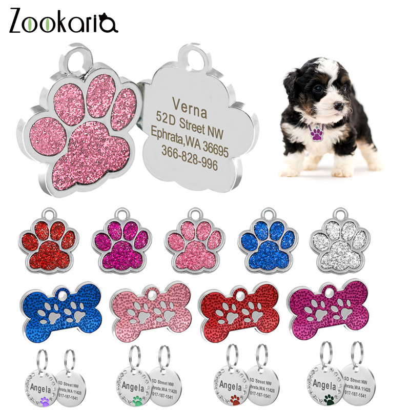 Anti lost Custom Dog ID Tag Engraved Pet Dog Collar Accessories Personalized Cat Puppy ID Tag Stainless Steel Bone/Paw Name Tags|ID Tags|   - AliExpress