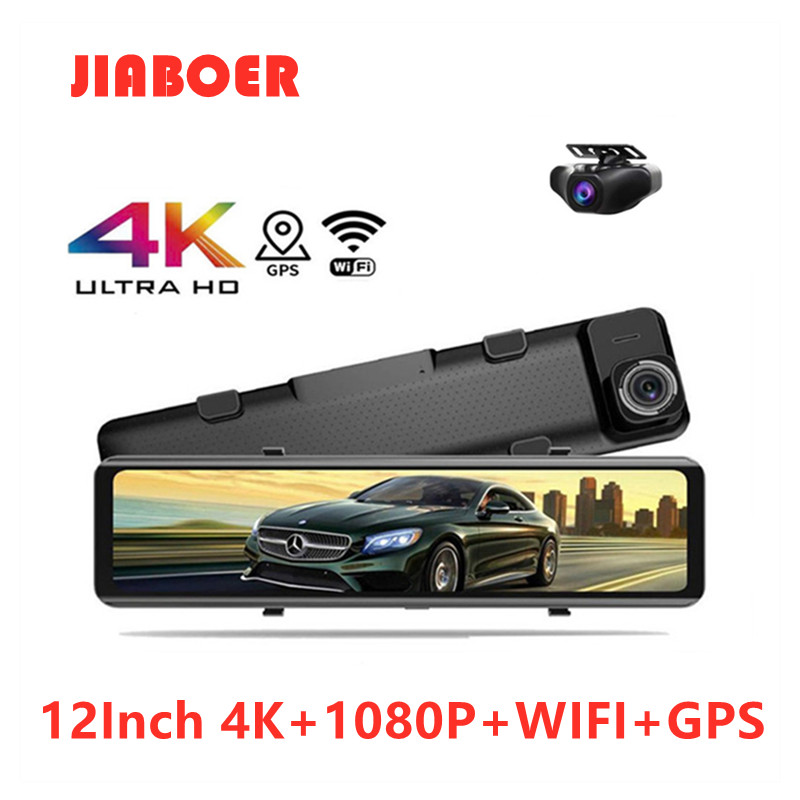 4K 12Inch Car Video Recorder Rearview Mirror Car DVR Sony IMX415 HD 3840*2160P Dash Cam With GPS WIF Night Vision Reverse Camera