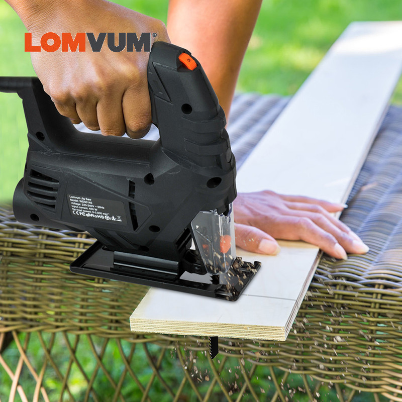 LOMVUM Jigsaw Power Tool Machine Electric Saw With Laser Guide Jig Saw For Metal Wood Steel Cutter Blades For Woodworking