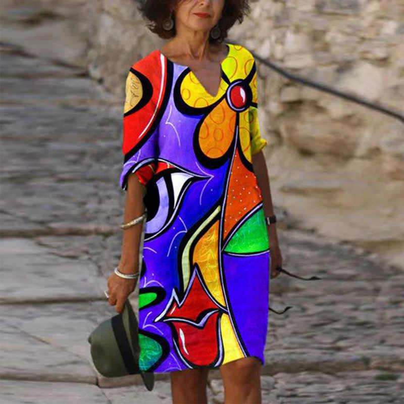 Stile della boemia Delle Donne Del Mini Vestito Casual con scollo a v Mezza Manica Abiti di Modo di Vacanza Estetica Allentato Stampa Geometrica Dress Abiti