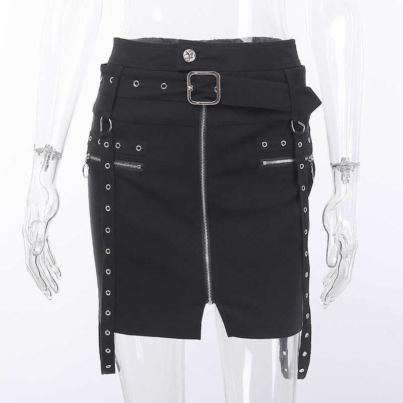 JIEZuoFang Панк Сексуальная Готическая женская джинсовая сумка стрейч рука короткая юбка женская классный ремень Сплит молния нерегулярная облегающая юбка