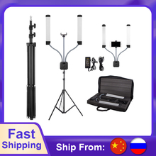 New Photo Studio Double Arms Fill Ring light with 200cm Tripod Long LED Strips add Stand 3000K 600K LED For Camera