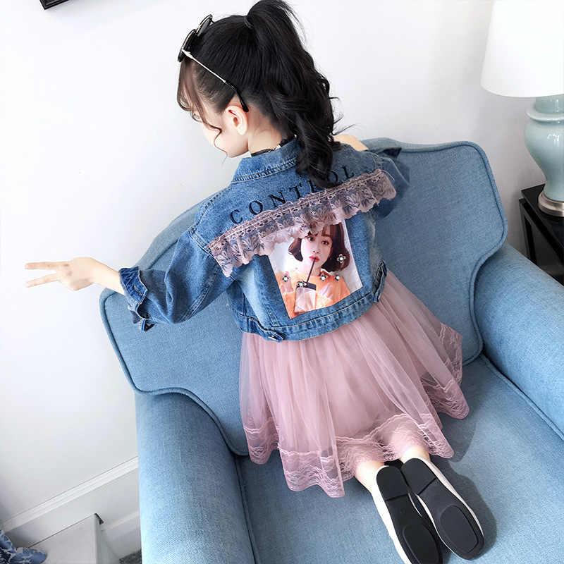 ילדי בגדים 2019 סתיו חורף בני נוער בנות בגדי ג 'ינס מעיל + שמלת 2pcs תלבושת חליפת ילדים בנות בגדי סט 6 8 10 שנה