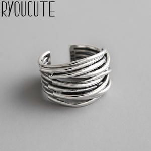 Rings for Chains Bijoux Silver-Color Women Gifts Simple-Style Large Multilayer-Line
