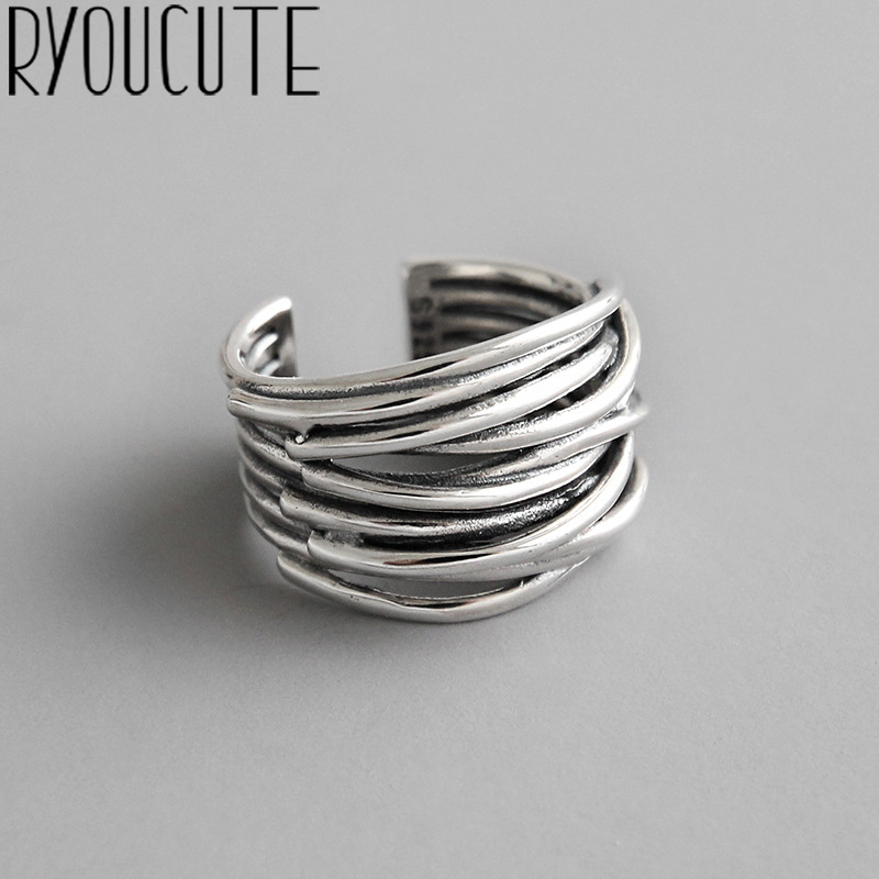 Bijoux 2020 Simple Style Silver Color Multilayer Line Rings For Women Gifts Large Chains Rings