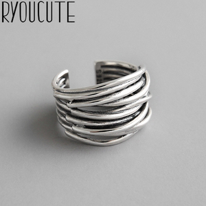 Bijoux 2020 Simple Style Silver Color Multilayer Line Rings For Women Gifts Large Chains Rings(China)