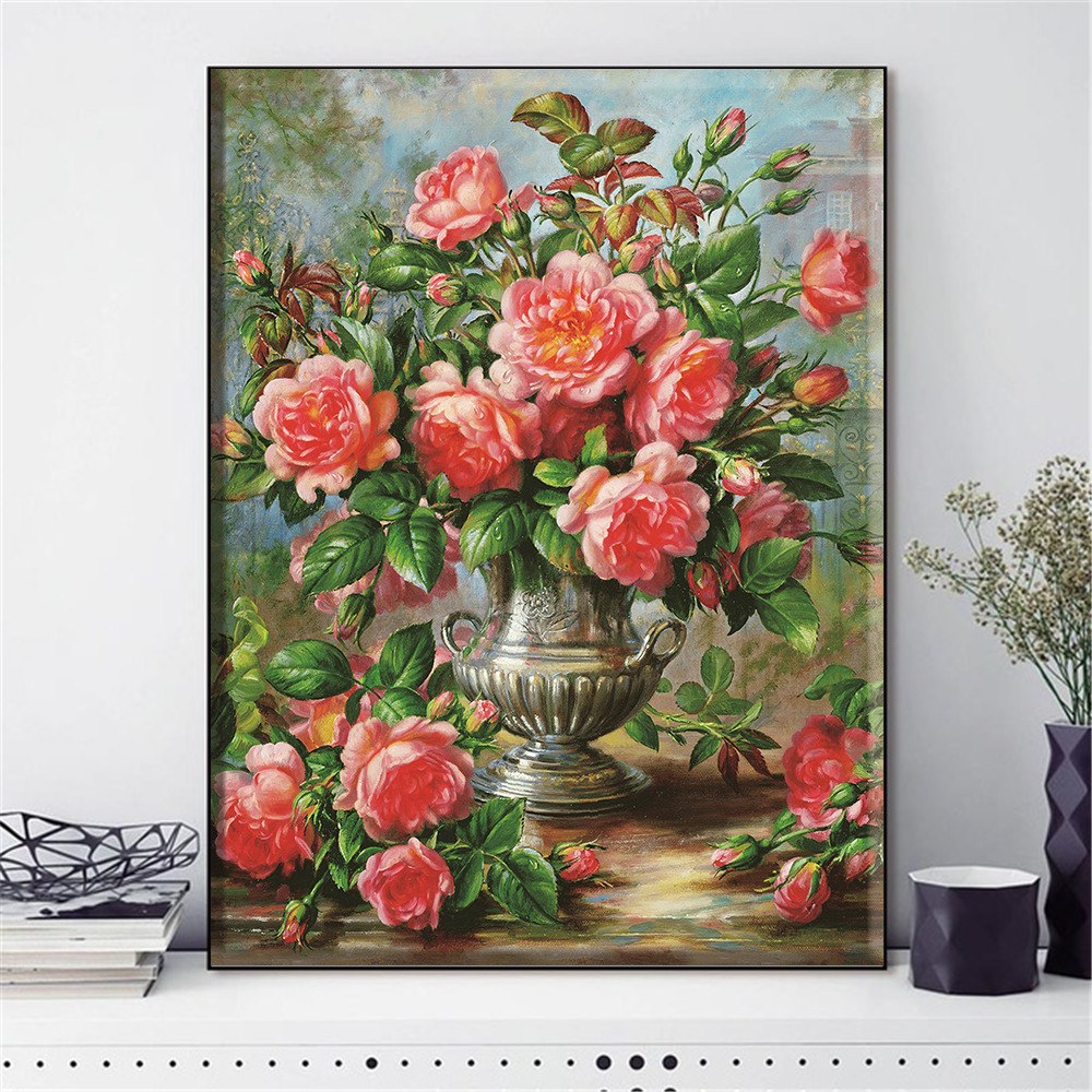 HUACAN Cross Stitch Embroidery Kits Flowers Cotton Thread Painting DIY Needlework 14CT Home Decoration