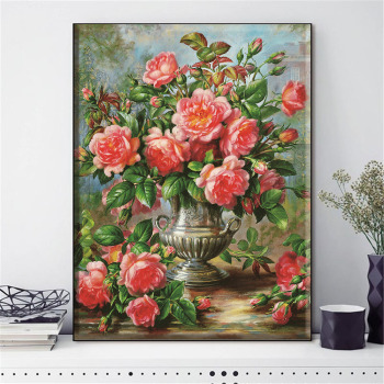 HUACAN Cross Stitch Embroidery Kits Flowers Cotton Thread Painting DIY Needlework 14CT Home Decoration - discount item  40% OFF Arts,Crafts & Sewing