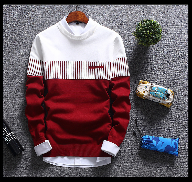 H671fa3aa913c4d2789320a20b3ca3ef9R - New Men's Autumn Winter Pullover Wool Slim Fit Striped Knitted Sweaters Mens Brand Clothing Casual pull homme hombre