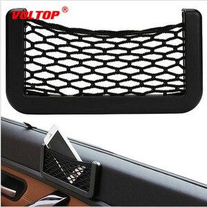 Image 2 - Araba Net çanta araba organizatör ağları 15X8cm otomotiv cepler yapıştırıcı ile Visor araba Syling çanta depolama araba araçlar için cep telefonu