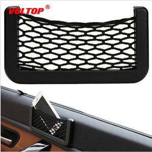 Image 2 - Car Net Bag Car Organizer Nets 15X8cm Automotive Pockets with Adhesive Visor Car Syling Bag Storage Car for Tools Mobile Phone
