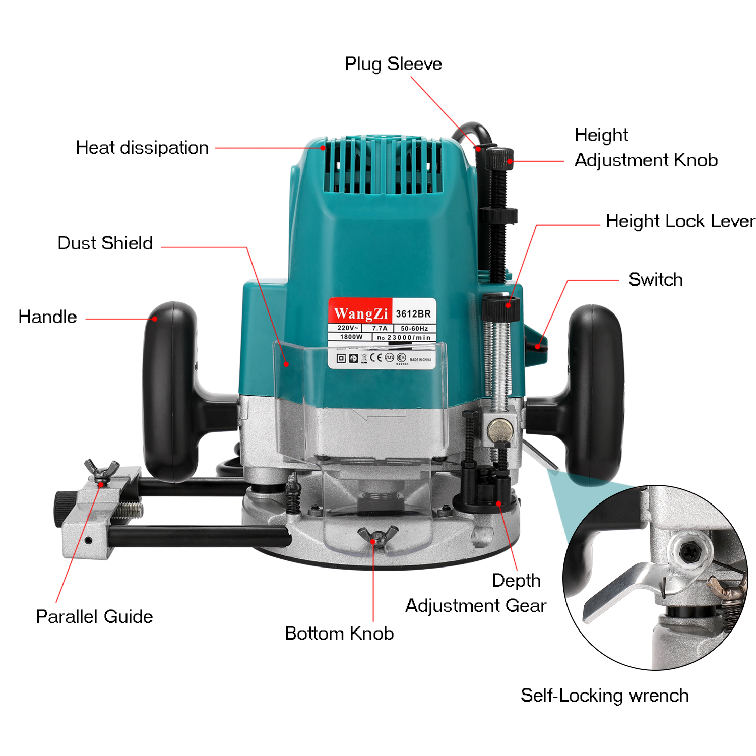 1800W Woodworking Electric Trimmer Wood Milling Engraving Slotting Trimming Machine Hand Carving Machine Wood Router - 6