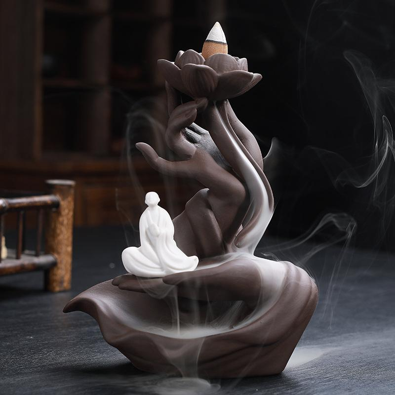 Buddha hand countercurrent incense burner with Usb Led light Home Decor 3