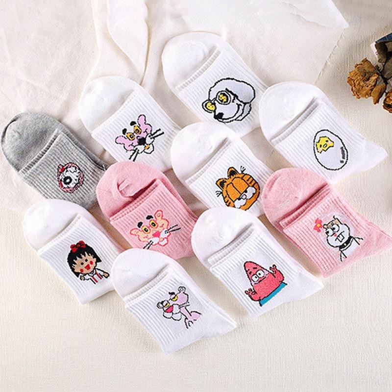 Cartoon Cotton Socks For Women Sponge Patrick Bob Socks Cat Dog Cute Animal Short Harajuku Socks Female Kawaii Spring Socks