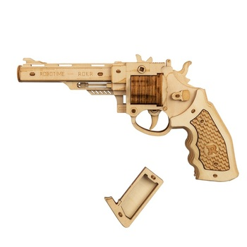 Robotime 102pcs DIY 3D Revolver with Rubber Band Bullet  Wooden Gun Puzzle Game Popular Toy Gift for Children Adult LQ401