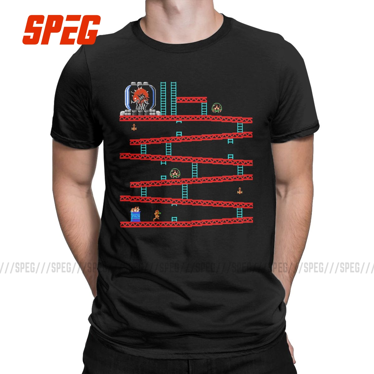 Leisure Metroid Kong Games T-Shirt for Men Round Collar Pure Cotton T Shirt Donkey Kong Short Sleeve Tees Gift Idea Clothing image