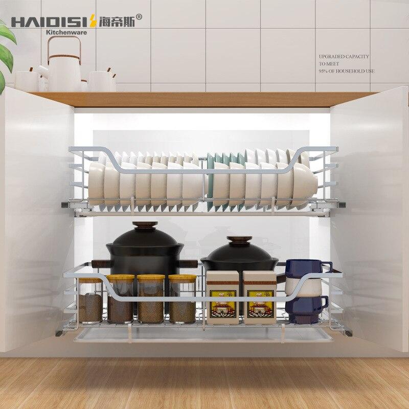 Stainless steel kitchen pull basket cabinet pull basket drawer type dish rack seasoning rack