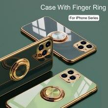 Luxo macio silicone caso para iphone 12 11 pro max mini xs xr x 7 8 plus se 2020 caso chapeamento capa protetora com anel titular
