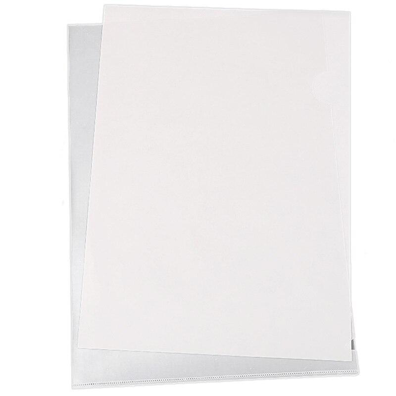 40PCS L-Type Plastic Folder - 18C Transparent Clear Document Folder For A4 Size Paper Sleeves