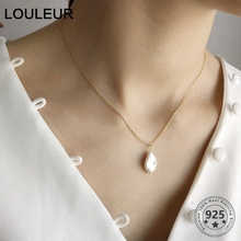 LouLeur Real 925 Sterling Silver Baroque Pearl Pendants Necklace Elegant Gold Chains Pearl Necklaces for Women Wholesale Jewelry graceful faux pearl chains necklace for women