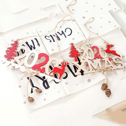 2020 Xmas Letters Elk Tree Wooden Sign Christmas Decoration for Home Pendant Hanging Ornament New 5